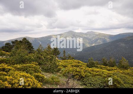 Scenic view of La Mujer Muerta subrange, formed by La Pinareja, Peña el Oso and Pasapán peaks (El Espinar, Guadarrama National Park, Segovia, Spain) - Stock Photo
