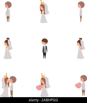 Set of brides and grooms cartoons design - Stock Photo