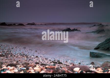Scottish Solway Seascape long exposures with abstract composition and dramatic colours - Stock Photo