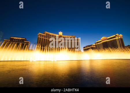 LAS VEGAS, USA - JUNE 2: Fountain show at Bellagio hotel and casino on June 2, 2016 in Las Vegas, USA. Las Vegas is one of the top tourist destination - Stock Photo