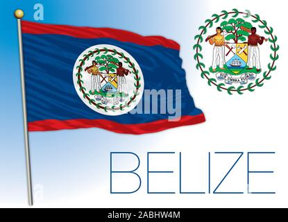 Belize official national flag and coat of arms, vector illustration, central america - Stock Photo
