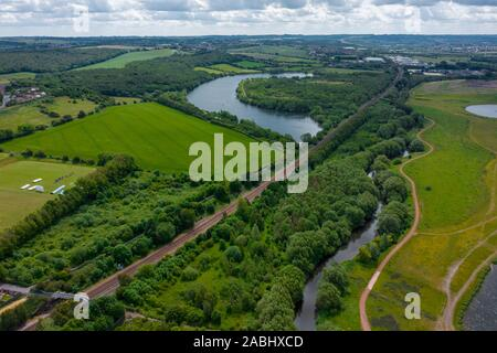 Aerial shot of Waverley Lakes in between Rotherham and Sheffield in South Yorkshire. June 2019