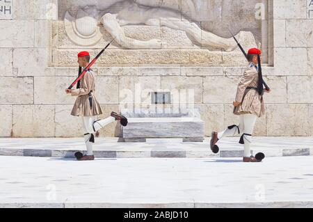 Evzone soldiers performing change of guard, Athens, Greece, Europe, - Stock Photo