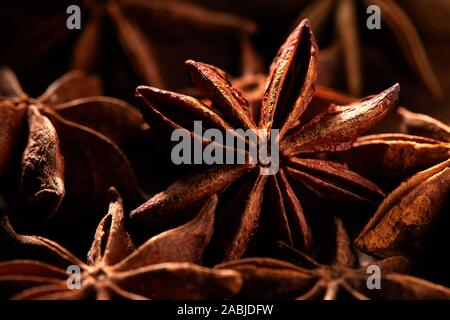 Macro shot of Badyan star anise spice at the market in India