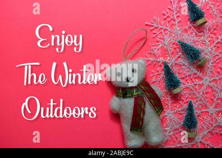 Enjoy The Winter Ourdoors text isolated on Pink backgroud. Frame of Christmas Decoration. - Stock Photo