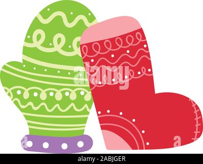 merry christmas celebration stocking and mitten decoration vector illustration - Stock Photo
