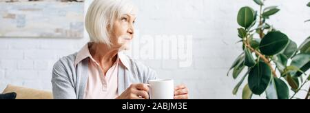 panoramic shot of senior woman holding cup of tea in apartment - Stock Photo