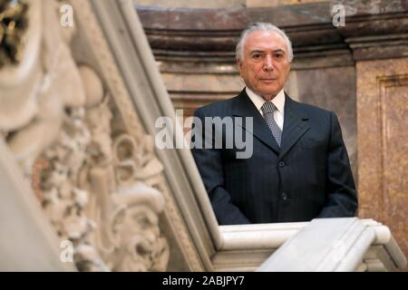Madrid, Spain. 27th Nov, 2019. Former Brazilian President Michel Temer poses during an interview with Spanish Efe news agency at Casa America in Madrid, Spain, 27 November 2019. Credit: Chema Moya/EFE/Alamy Live News - Stock Photo