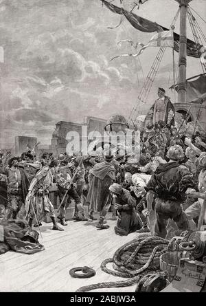 Mutiny against Christopher Columbus, 1451 - 1506, Italian navigator in the service of Spain - Stock Photo