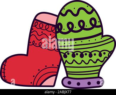 merry christmas celebration stocking and mitten decoration vector illustration - Stock Photo