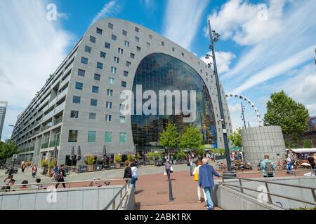ROTTERDAM, NETHERLANDS, - JULY, 9, 2019: The Rotterdam Markthal (Market Hall) in Rotterdam, Netherlands, Europe. - Stock Photo