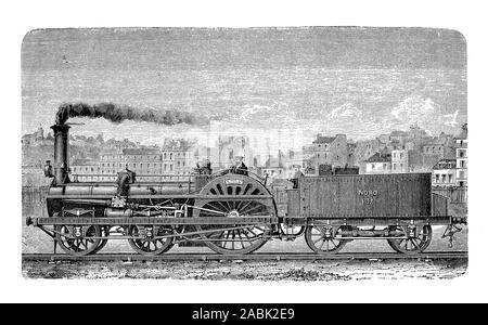 Fast train locomotive 19th century - Stock Photo