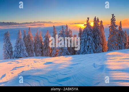 View from the Rigi to the Bernese Alps and the Pilatus in winter, evening light. Schwyz, Switzerland.. - Stock Photo