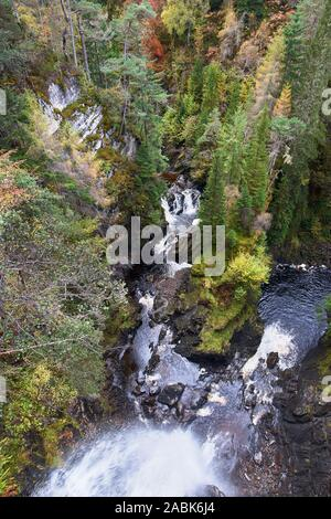 Plodda Falls, near Tomich, Strathglass, Inverness, Highland, Scotland - Stock Photo