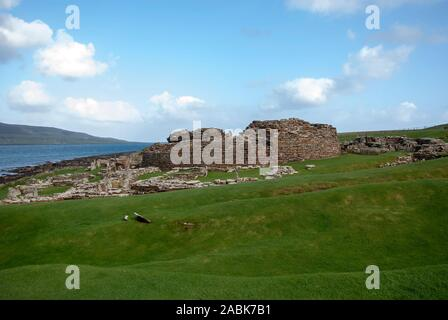 Preserved Ruins Iron Age Broch of Gurness Aikerness Evie Mainland Orkney Scotland United Kingdom exterior view historic scotland archaeology archaeolo - Stock Photo
