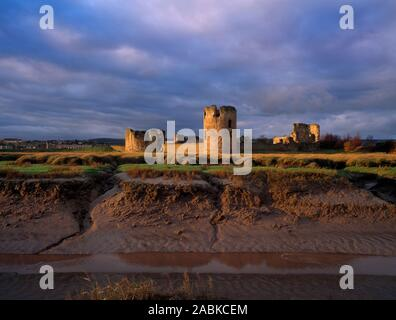 Flint Castle, Flintshire, North Wales. Medieval castle seen from tidal marshes on edge of River Dee. - Stock Photo