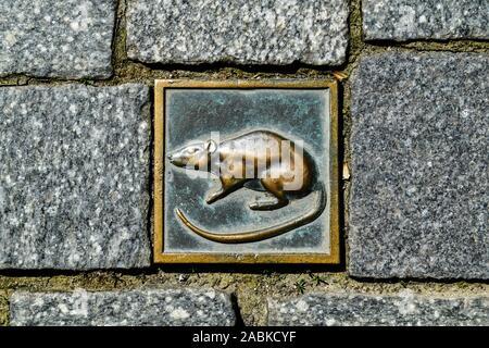 Pflasterstein, Rattenfänger Symbol, Touristenroute, Hameln, Niedersachsen, Deutschland - Stock Photo