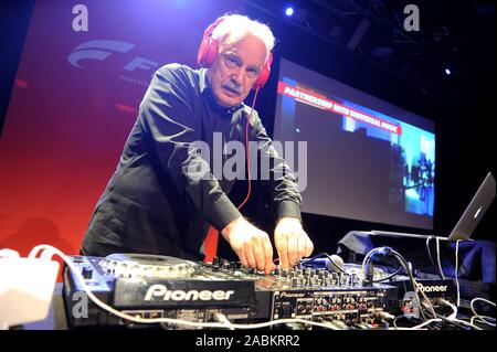 The Italian music producer and composer Giorgio Moroder plays at the FPT Industrial Event in the Technikum München. [automated translation] - Stock Photo