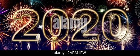 New Year 2020 - Banner with Firework and Date - Stock Photo