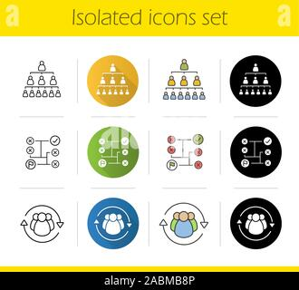 Business concepts icons set. Flat design, linear, black and color styles. Company hierarchy, problems solving, staff turnover. Isolated vector illustr - Stock Photo