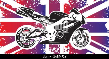 Motorbike with great britain flag in background - Stock Photo