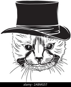 Vector funny British cat hipster in the gray hat, eyeglasses and bowtie - Stock Photo