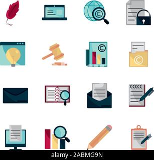 property intellectual copyright icons set vector illustration