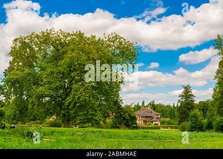 Lovely panoramic landscape view of a big, old tree in the Trianon garden of Versailles on a nice summer day with a blue sky. The lake and the Queen's... - Stock Photo
