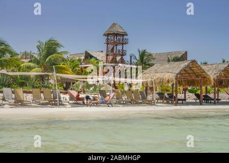 Sandstrand, Hotelanlage, Isla Holbox, Quintana Roo, Mexiko - Stock Photo