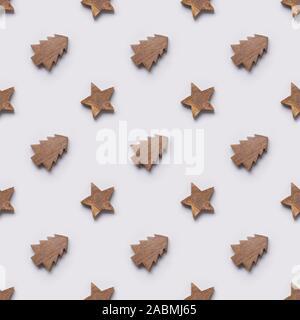 Seamless pattern of wooden Christmas tree and stars toys. Xmas texture. Free plastic. Zero waste. - Stock Photo