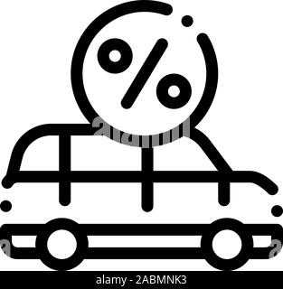 Car Credit Loan Icon Vector Outline Illustration - Stock Photo