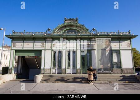VIENNA, AUSTRIA - NOVEMBER 6, 2019: Former Karlsplatz Metro Station Pavillion. Designed by Otto Wagner, it is a symbol of Art Nouveau and of the Jugen - Stock Photo