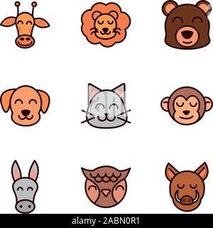 cute face animals cartoon icon on white background - Stock Photo