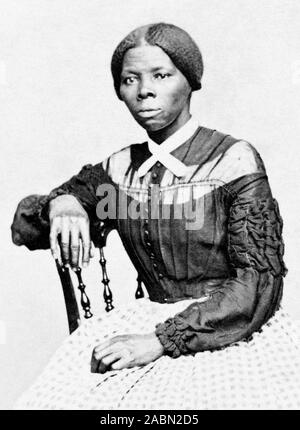 Vintage portrait photo of Harriet Tubman (c1820 – 1913). Born into slavery, Tubman (birth name Araminta Ross) escaped and later guided other slaves to freedom via the Underground Railroad before working as a nurse, spy and scout for the Union Army during the American Civil War. In later life she engaged in humanitarian work and promoted the cause of women's suffrage. Photo circa 1868 by Benjamin F Powelson. - Stock Photo