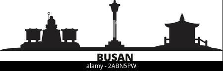 South Korea, Bunited Statesn city skyline isolated vector illustration. South Korea, Bunited Statesn travel black cityscape - Stock Photo