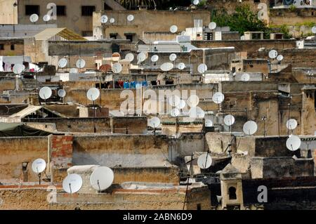 Townscape or View over Rooftops of Fez with Satellite Dishes in the Old Town or Historic District Fes or Fez Morocco - Stock Photo
