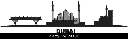 United Arab Emirates, Dubai city skyline isolated vector illustration. United Arab Emirates, Dubai travel black cityscape - Stock Photo