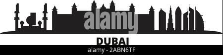 United Arab Emirates, Dubai City city skyline isolated vector illustration. United Arab Emirates, Dubai City travel black cityscape - Stock Photo
