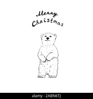 Polar bear with Merry Christmas letters. Black outline on white background. Picture can be used in greeting cards, posters, flyers, banners, logo, further design etc. Vector illustration. EPS10 - Stock Photo