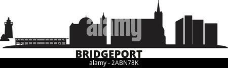 United States, Bridgeport city skyline isolated vector illustration. United States, Bridgeport travel black cityscape - Stock Photo