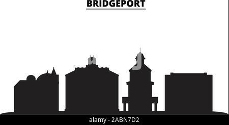 United States, Bridgeport City city skyline isolated vector illustration. United States, Bridgeport City travel black cityscape - Stock Photo