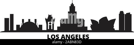 United States, Los Angeles City city skyline isolated vector illustration. United States, Los Angeles City travel black cityscape - Stock Photo
