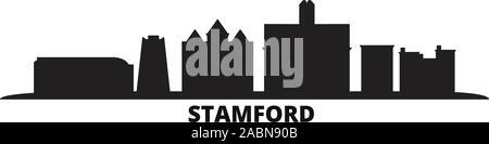 United States, Stamford city skyline isolated vector illustration. United States, Stamford travel black cityscape - Stock Photo