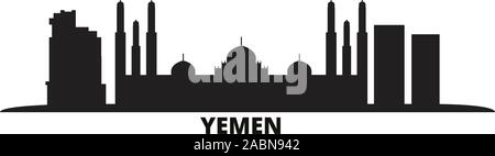 Yemen, Sanaa city skyline isolated vector illustration. Yemen, Sanaa travel black cityscape - Stock Photo