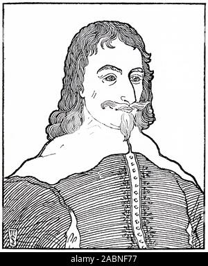 Engraved portrait of Archibald Campbell, 1st Marquess of Argyll, 8th Earl of Argyll, chief of Clan Campbell, (1607 – 1661) was a Scottish nobleman, politician, and peer. Often remembered as the principal opponent of the royalist general James Graham, 1st Marquess of Montrose. - Stock Photo