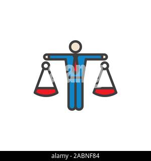 Icon with man weighing decisions - making a decision or choice icon vector - Stock Photo