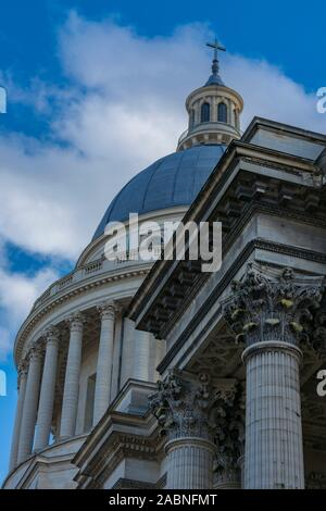 Dome and detail of the capitals of the Pantheon columns in Paris, France - Stock Photo