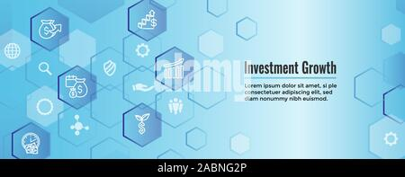 Banking, Investments and Growth Icon Set w Dollar Symbols, etc - Stock Photo