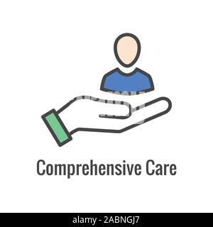 Comprehensive Care Icon w health related symbolism and image - Stock Photo