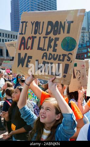 September 20, 2019. Boston, MA. Thousands of young people from Massachusetts held a climate strike in downtown Boston demanding politicians and other - Stock Photo
